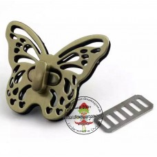 Drehverschluss Schmetterling altmessing