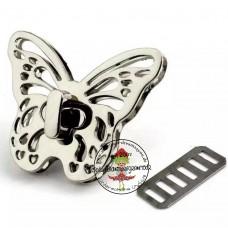 Drehverschluss Schmetterling silber