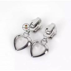 Reißverschluss Zipper * Herz Silber 5mm * 1 Stück