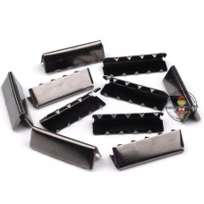 Endstück für Gurtband 30 mm, Gunmetal, 10 Stück