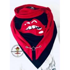 Mega XXL Tuch * Lips mit Karabiner Schwarz - Rot