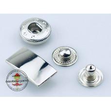 Druckknopf Rechteck Silber