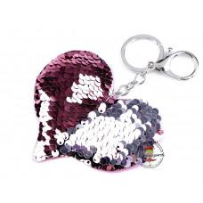 Pailetten Taschenanhänger Silber/Rosa