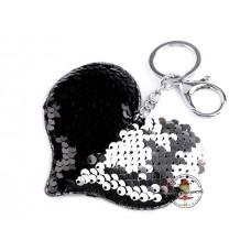 Pailetten Taschenanhänger Silber/Schwarz