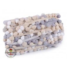 Bommelborte ♥ Ombre ♥ grau/beige/weiß