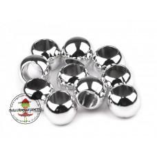 Acryl Großlochperle ♥ 20 Stück ♥ Metallic Silber