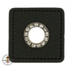 1 Paar Kunstleder Ösen Patch schwarz  * 11 mm Öse Altsilber mit Strasssteinchen