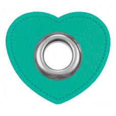 Herz Ösenpatch mit Öse 10 mm ♥ Mint ♥ 1 Paar