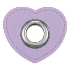 Herz Ösenpatch mit Öse 10 mm ♥ Flieder ♥ 1 Paar