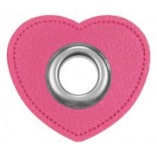 Herz Ösenpatch mit Öse 10 mm ♥ Pink ♥ 1 Paar