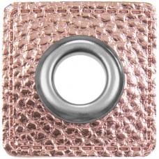 Ösenpatch mit Öse 10 mm ♥ rosa metallic ♥ 1 Paar