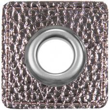 Ösenpatch mit Öse 10 mm ♥ silbergrau metallic ♥ 1 Paar