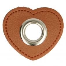 Herz Ösenpatch mit Öse 11 mm * braun * 1 Paar