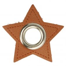 Stern Ösenpatch mit Öse 8 mm * braun * 1 Paar