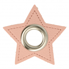 Stern Ösenpatch mit Öse 8 mm * rosa * 1 Paar