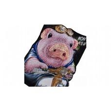 BIG PIG Pailetten Aufnäher 46 cm x 31,5 cm