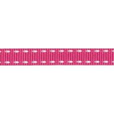 Ripsband*Grosgrainband Fuchsia, Weiß gesteppt