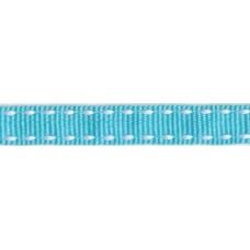 Ripsband*Grosgrainband Aqua, Weiß gesteppt