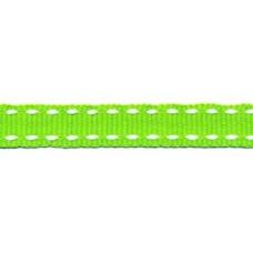 Ripsband*Grosgrainband Giftgrün, Weiß gesteppt