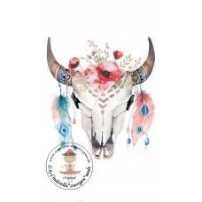 Buffalo Skull Bügelbild