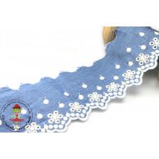 Chambray Wäschespitze Flower*Dots hellblau