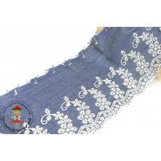Chambray Wäschespitze Flowerranke dunkelblau
