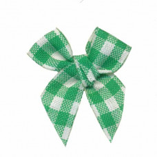 Mini Vichy Schleife grün, 5 Stück