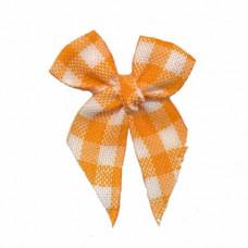 Mini Vichy Schleife orange, 5 Stück