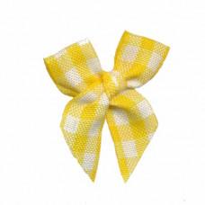 Mini Vichy Schleife gelb, 5 Stück