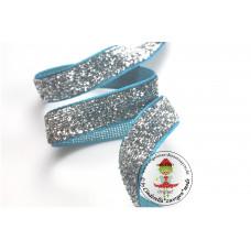 Glitzerband Silber 10 mm