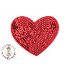 Herz Pailetten Patch*Rot