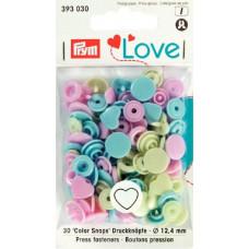 Prym Love Druckknopf Herz 12,4mm rosa/grün/hellblau