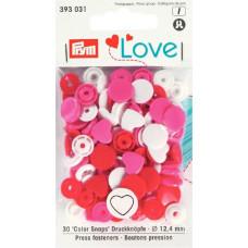 Prym Love Druckknopf Herz 12,4mm rot/weiß/pink