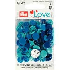 Prym Love Druckknopf Stern 12,4mm blau/türkis/tinte