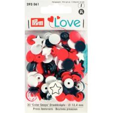 Prym Love Druckknopf Stern 12,4mm rot/weiß/marine