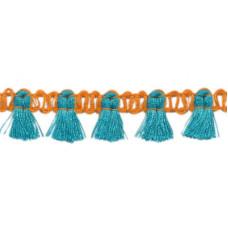 Mini Quastenborte Orange*Aqua