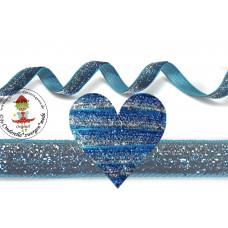 Glitzerband Ombre Blau*Silber