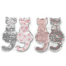 Katzenpaar rosa,  Wende Pailetten Patch