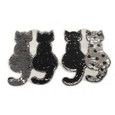Katzenpaar schwarz,  Wende Pailetten Patch