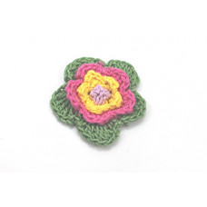 3 D Häkelblume Grün-Pink-Gelb
