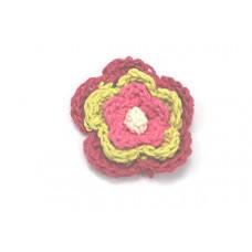 3 D Häkelblume Fuchsia-Lime-Pink