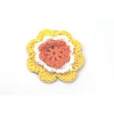 3 D Häkelblume Gelb-Weiß-Orange