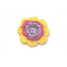 3 D Häkelblume Gelb-Pink-Flieder