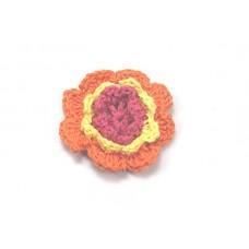 3 D Häkelblume Orange-Gelb-Fuchsia