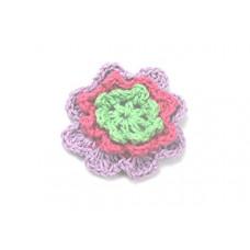 3 D Häkelblume Flieder-Fuchsia-Grün
