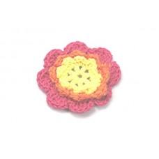 3 D Häkelblume Pink-Orange-Gelb