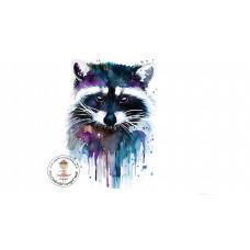 Watercolor Racoon Bügelbild