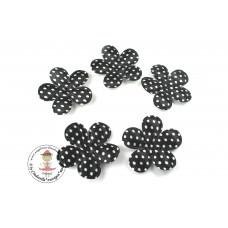 Satin Blume Dots*Black*5 Stück