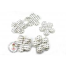 Satin Blume Dots*White*5 Stück