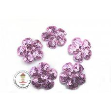 Pailetten Blümchen Lilac, 5 Stück